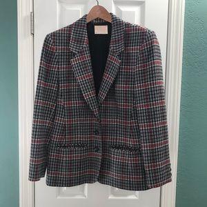 PENDLETON Wool Blazer, Houndstooth Plaid Red Gray
